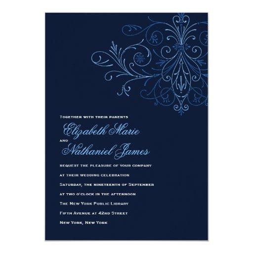 Dark Blue Wedding Invitations: Modern Flourish Wedding Invitation Dark Blue