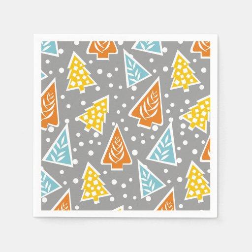 Christmas Tree Napkin Pattern: Modern, Funky, Stylized Christmas Trees Pattern Paper
