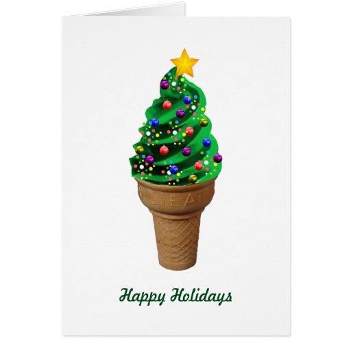 Modern Ice Cream Christmas Tree Greetings Card Zazzle