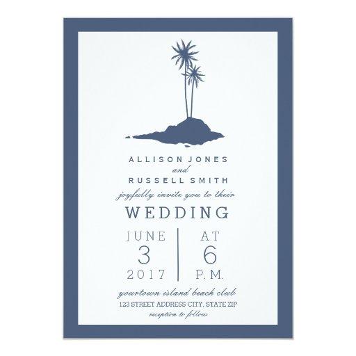 Dark Blue Wedding Invitations: Modern Island Beach Wedding Invitation - Dark Blue