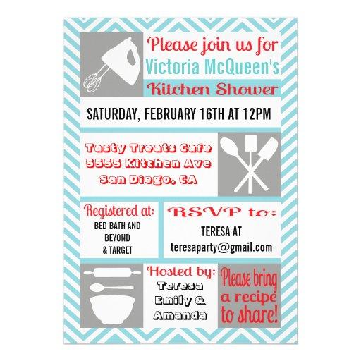 "Modern Kitchen Bridal Shower Invitations 5"" X 7"