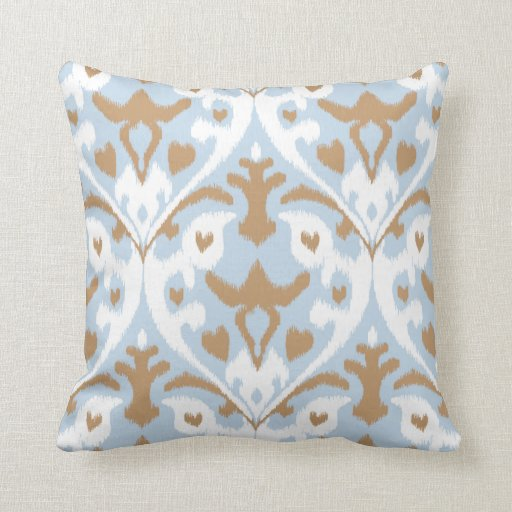 Modern Light Blue And White Ikat Tribal Pattern Throw