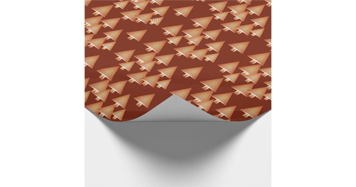 Modern metallic Christmas trees - copper Wrapping Paper ...