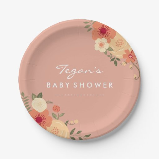 Modern Peach Floral Baby Shower Paper Plates Zazzle