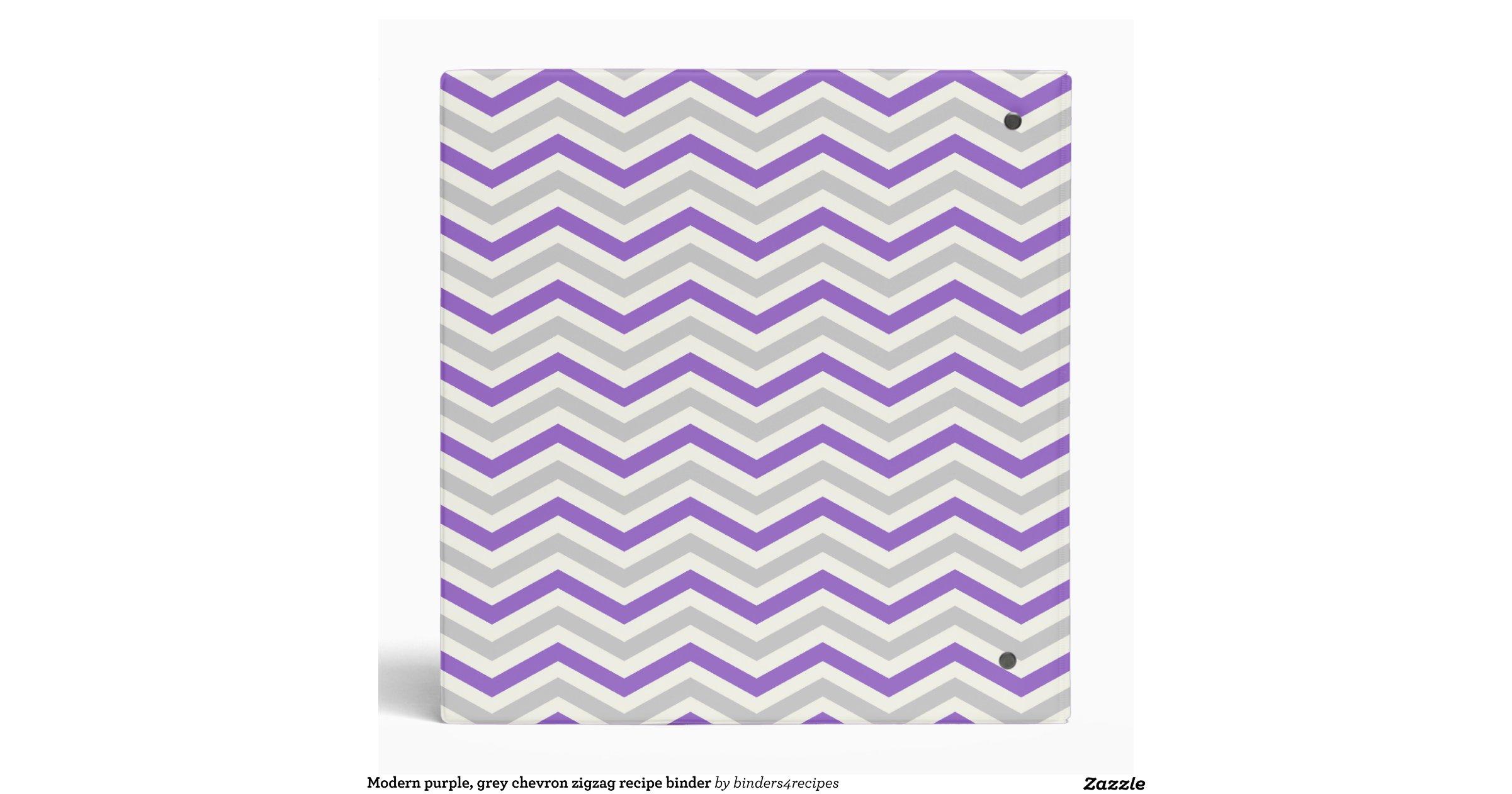 modern_purple_grey_chevron_zigzag_recipe_binder ...