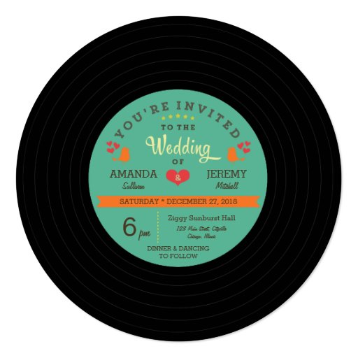 Modern Retro Vinyl Record Wedding Invitation Zazzle