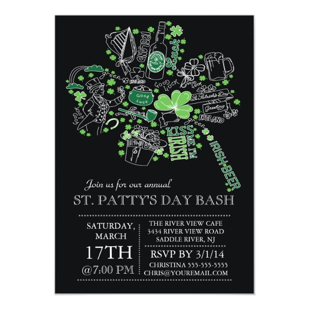 Modern St Patrick S Day Bash Dinner Party 5x7 Paper