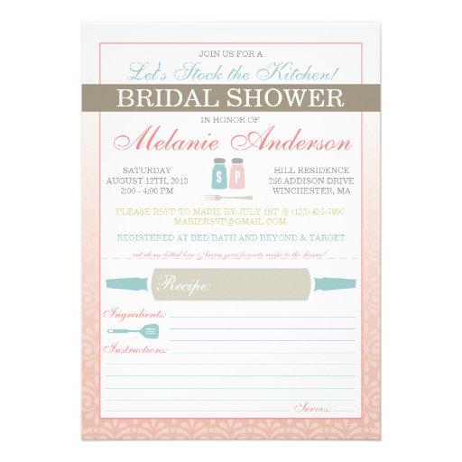 "Modern Stock The Kitchen Bridal Shower Invites 5"" X 7"