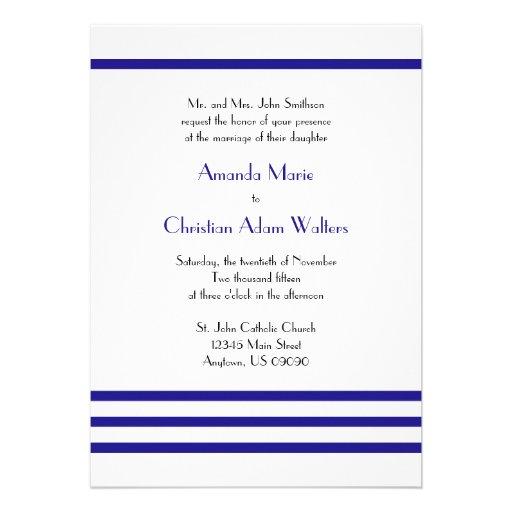 "Navy Blue Wedding Invitations Modern: Modern Stripes Wedding Invitations (Navy Blue) 5"" X 7"