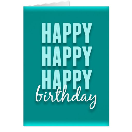 modern teal satin happy birthday card zazzle. Black Bedroom Furniture Sets. Home Design Ideas