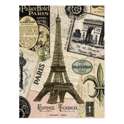 Modern Vintage French travel collage Postcard | Zazzle