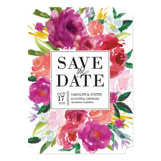 Save The Date Wedding Floral Ornament Wedding Floral: Modern Watercolor Flowers Wedding Save The Date Card