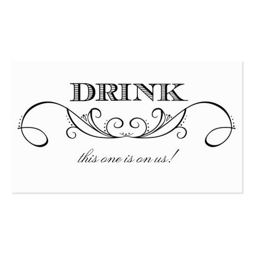 Modern White Black Swirl Wedding Drink Ticket Business Card Template