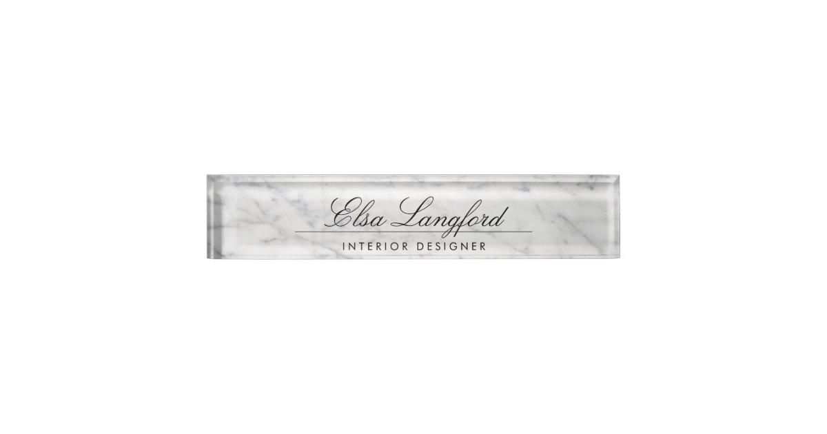 Modern White Marble Luxury Designer Desk Nameplate Zazzle