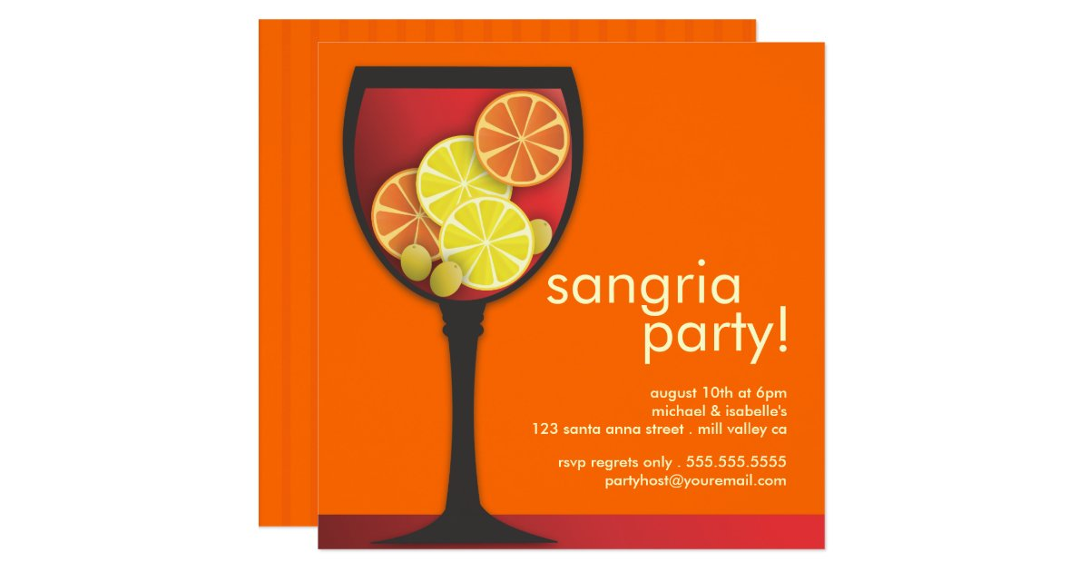 Sangria Wedding Invitations: Modern Wineglass Sangria Party Invitation