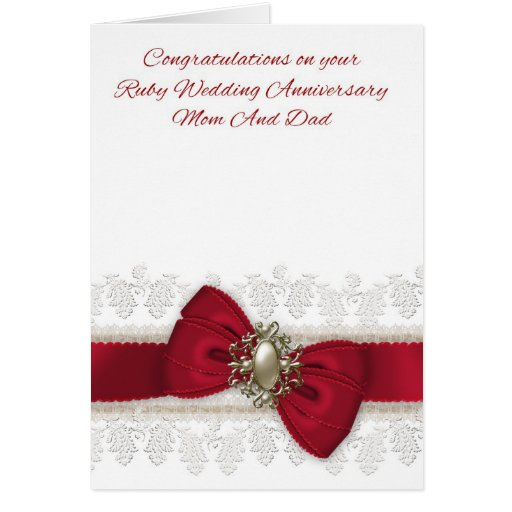 25th Wedding Anniversary Gifts For Mum And Dad: Mom And Dad Ruby Wedding Anniversary Stylish Card