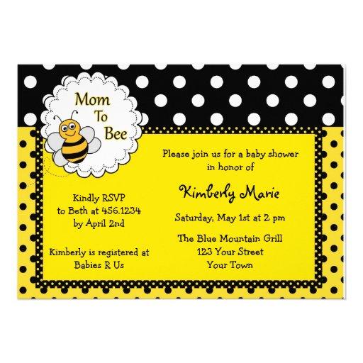Ble Bee Baby Invitations