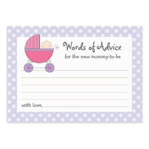 Mommy advice card baby shower carriage pink large for Baby shower place cards template