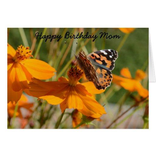 Monarch Butterfly Flower Birthday Greeting Card