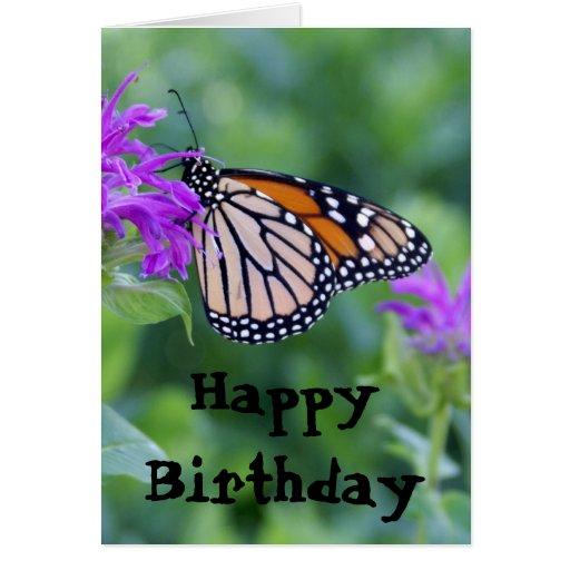 Monarch On Purple Flower, Happy Birthday Card