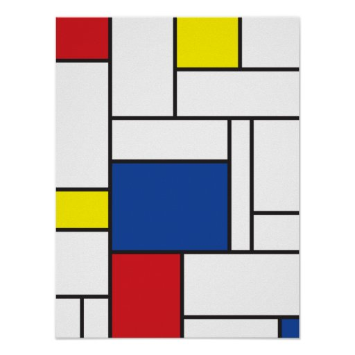 mondrian minimalist de stijl wall art poster print zazzle. Black Bedroom Furniture Sets. Home Design Ideas