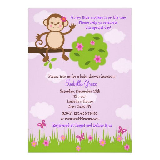 """Monkey Baby Shower Invitations Girl 5"""" X 7"""" Invitation"""