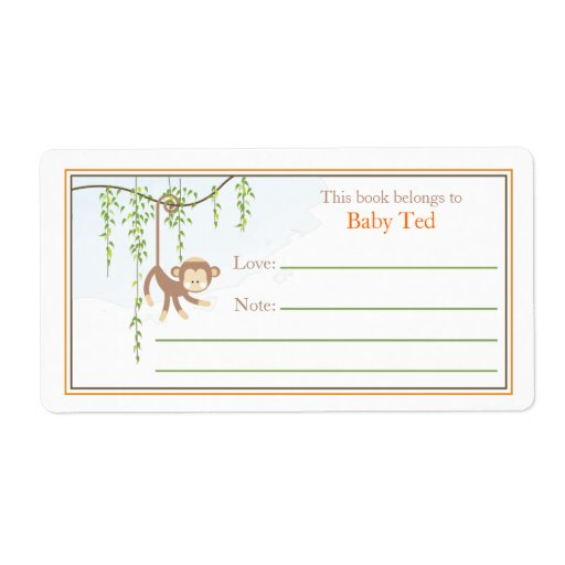 Monkey bookplate custom shipping label zazzle for Bookplate templates for word