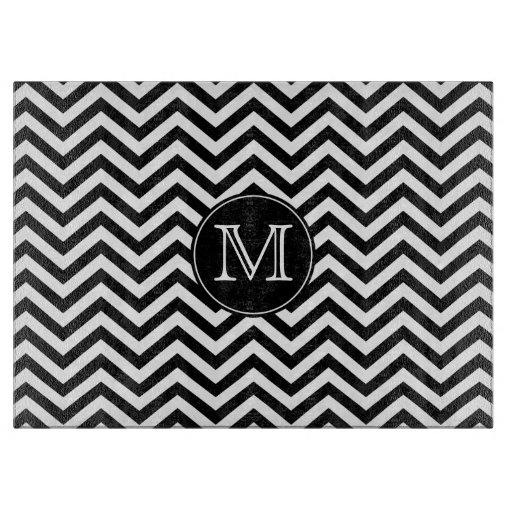 Black And White Chevron Hand Towels: Monogram Black And White Chevron Cutting Board