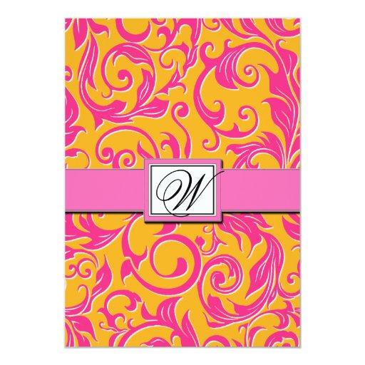 Pink Orange Wedding Invitations: Monogram Damask Orange & Pink Wedding Invitations