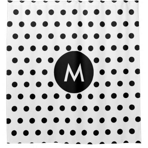 monogram initial simple black white polka dots shower curtain zazzle. Black Bedroom Furniture Sets. Home Design Ideas