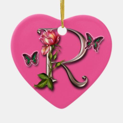 MONOGRAM LETTER R - HEART ORNAMENT | Zazzle