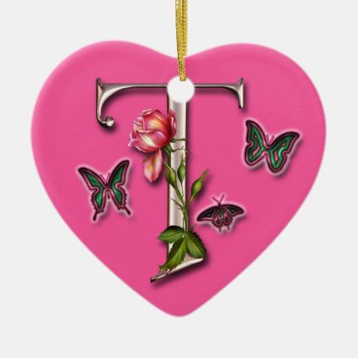 MONOGRAM LETTER T - HEART ORNAMENT | Zazzle