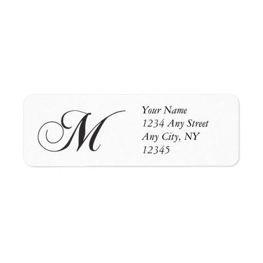monogram m return address labels zazzle. Black Bedroom Furniture Sets. Home Design Ideas