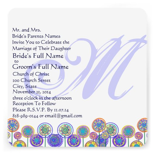 Monogram New Sizes Square Fun Wedding Invitation