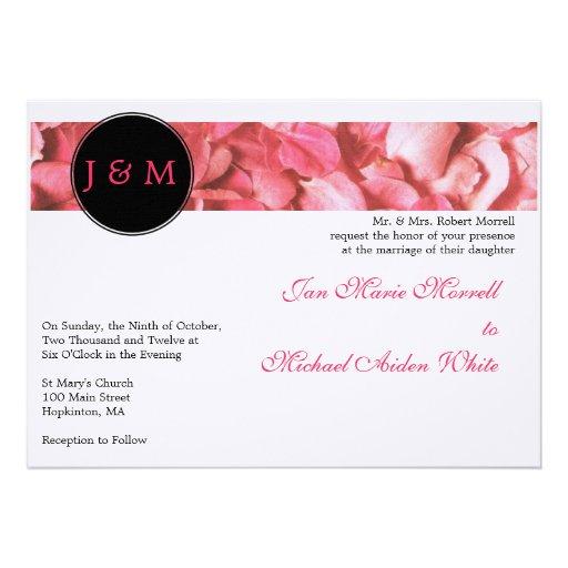 """Monogram Rose Petals Wedding Invitation 5"""" X 7"""" Invitation"""