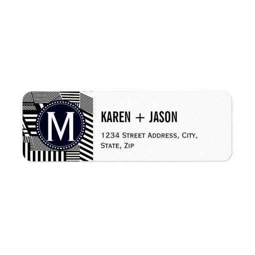 monogram template return address label zazzle. Black Bedroom Furniture Sets. Home Design Ideas