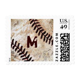 MONOGRAMMED Baseball Postage Stamps for Men