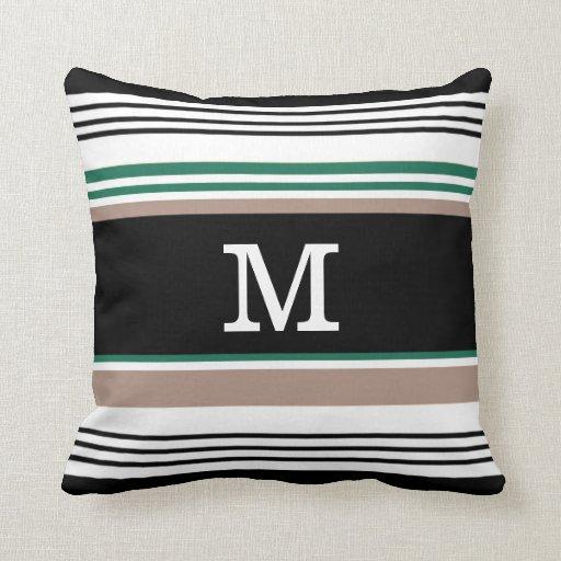 Monogrammed Black And White Striped Throw Pillow Zazzle