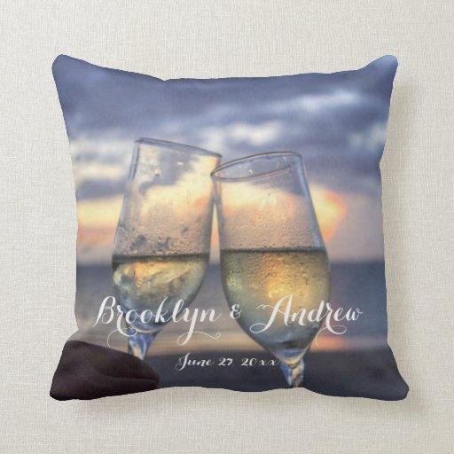 Monogrammed Custom Sunset On Beach Wedding Pillows Zazzle