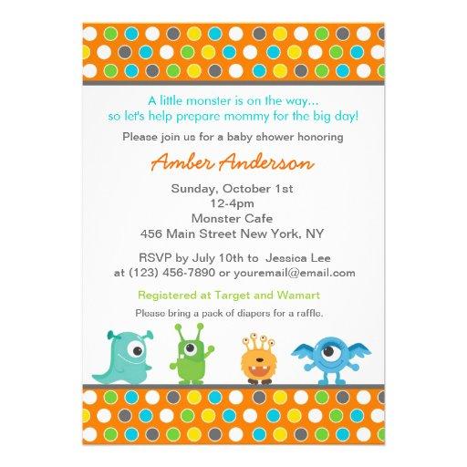 Personalized Monster Baby Shower Invitations Custominvitations4u Com