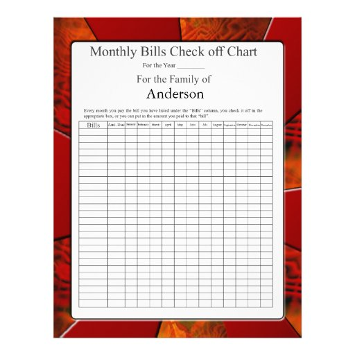 Monthly Bills Check off Chart Letterhead Template | Zazzle