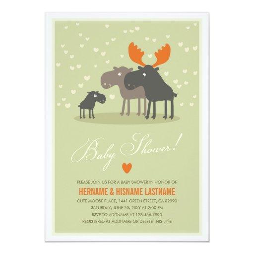 Family Baby Shower Invitations: Moose Deer Family Couples Baby Shower Invitation