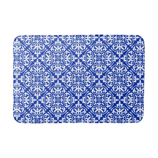 Moroccan Tile Cobalt Blue And White Bathroom Mat Zazzle