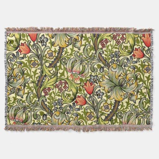 Morris Golden Lily Pattern Rugs Throw Blanket