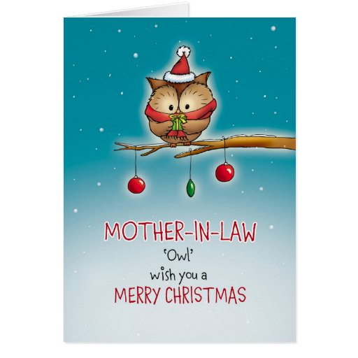 mother in law owl wish you a merry christmas card  zazzle