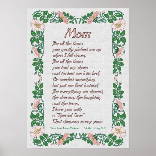 mothers day poem with floral border print zazzle. Black Bedroom Furniture Sets. Home Design Ideas