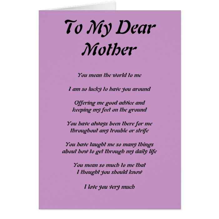 Mothers Poem Greeting Cards On Popscreen