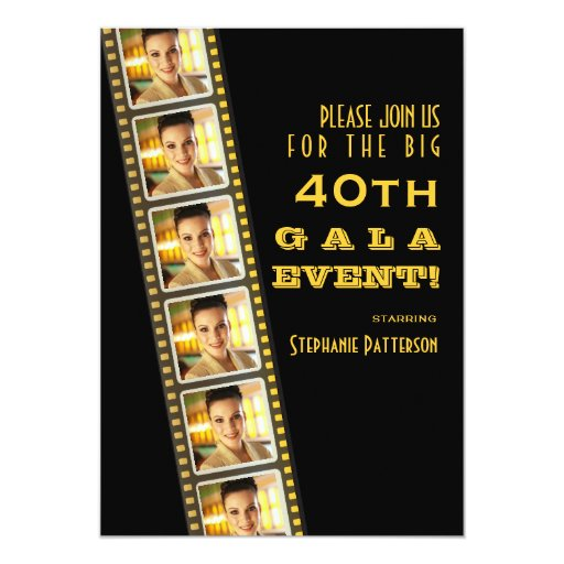 Movie premiere celebrity 40th birthday photo gala 5 x 7 for Film premiere invitation template