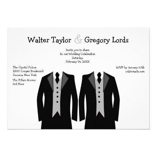 "Mr. And Mr. Gay Wedding Invitation 5"" X 7"" Invitation Card"