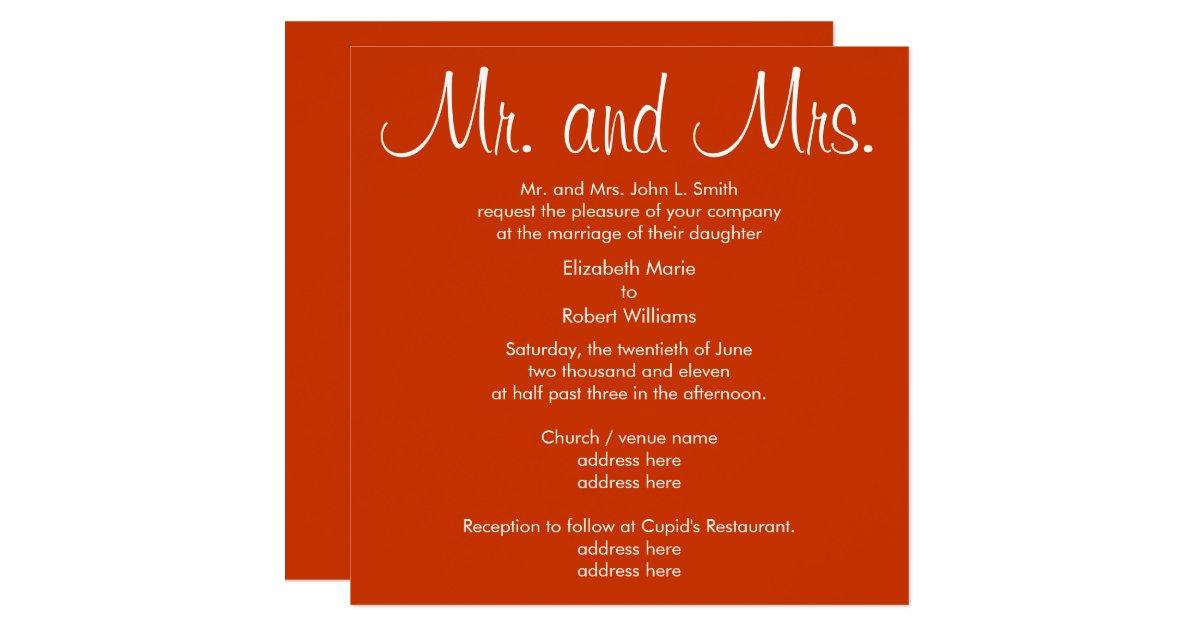 Mr And Mrs Wedding Invitation Wording: Mr. And Mrs. Autumn Wedding Invitation